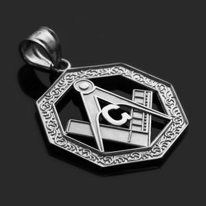 White Gold Freemason Octagonal Masonic Bail Pendant Necklace