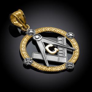 Two-Tone Gold Round Freemason Diamond Masonic Pendant Necklace