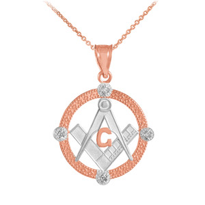 Two-Tone Rose Gold Round Freemason Diamond Masonic Pendant Necklace