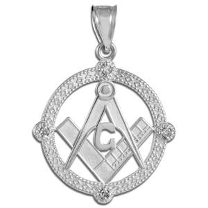 White Gold Round Freemason Diamond Masonic Pendant Necklace