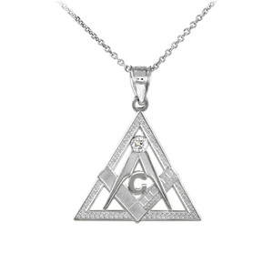 Sterling Silver Freemason Triangle Masonic CZ Pendant Necklace
