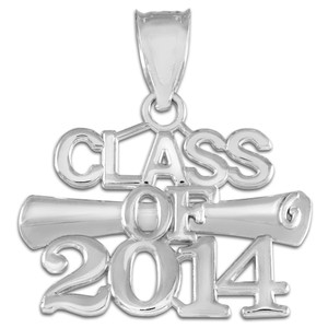 """CLASS OF 2014"" Graduation White Gold Charm Pendant"