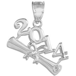 2014 Class Graduation White Gold Charm Pendant