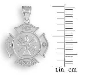 Sterling Silver Fire Rescue Solid Firefighter Badge Pendant Necklace
