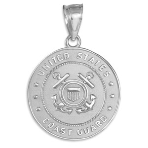 Sterling Silver US Coast Guard Coin Pendant Necklace