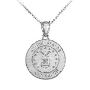 Sterling Silver US Air Force Coin Pendant Necklace