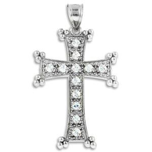 Sterling Silver Clear CZ Armenian Cross Pendant