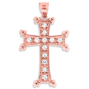 Rose Gold Armenian Cross CZ Pendant