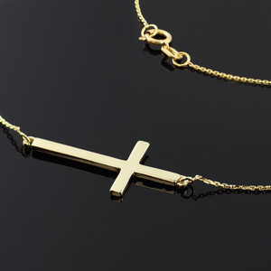 14K Solid Gold Sideways Cross Necklace