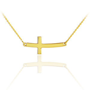 14K Solid Gold Sideways Curved Cute Cross Necklace