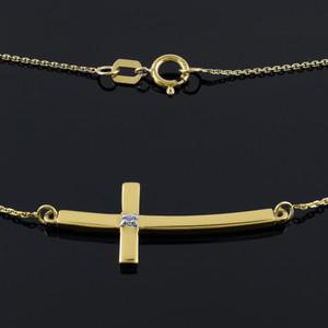 14K Gold Sideways Curved Diamond Cross Necklace