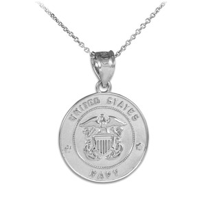 US Navy Solid White Gold Coin Pendant Necklace