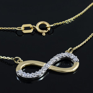 14K Gold Infinity Pendant Necklace Polished with Diamonds