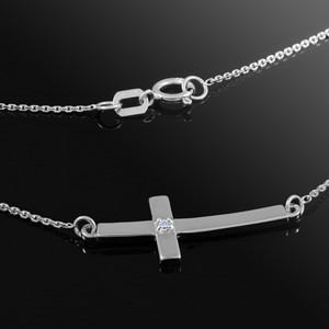 14K White Gold Sideways Small Curved Diamond Cross Pendant Necklace