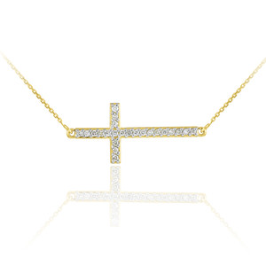14K Gold Sideways Diamond Cross Pendant Necklace
