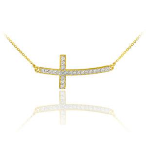 14K Gold Sideways Diamond Curved Cross Pendant Necklace