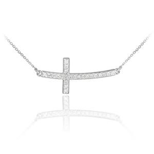 14K White Gold Sideways Diamond Curved Cross Pendant Necklace