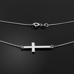 14K Solid White Gold Sideways Cross Cute Necklace