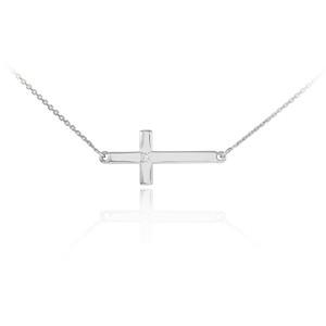 14K White Gold Sideways Cross Cute Diamond Necklace