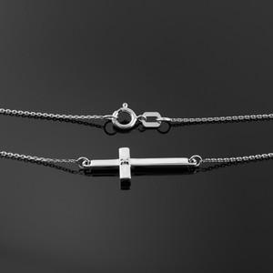 925 Sterling Silver Sideways Cross Cute Diamond Necklace