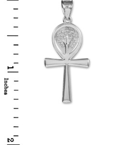 White Gold Ankh Cross Tree of Life Pendant Necklace