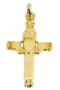 Gold Claddagh Cross Charm