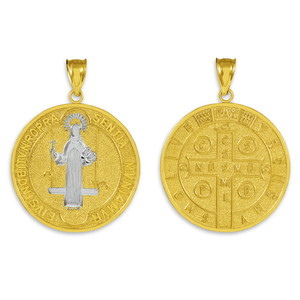 Solid Gold St. Benedict Coin Medallion Pendant (L)