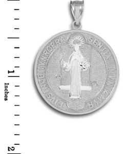 Solid White Gold St. Benedict Coin Medallion Pendant (L)