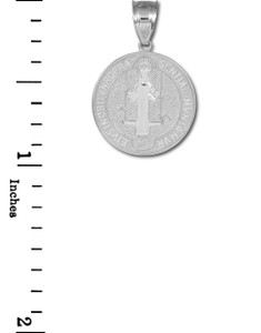 Solid White Gold St. Benedict Coin Charm Pendant