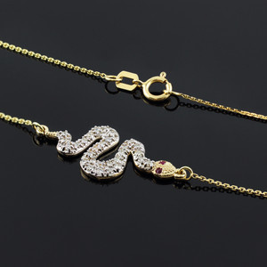 14K Gold Snake CZ Pendant Necklace