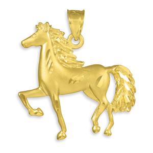 Satin Finish Diamond Cut Gold Horse Charm Pendant Necklace