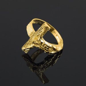 Textured Gold Crucifix Ring