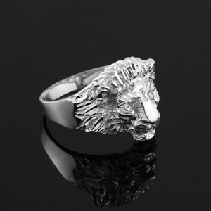 Sterling Silver Lion Head Men's Ring