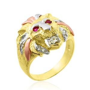Tri-Tone Gold Lion Head Men's CZ Ring