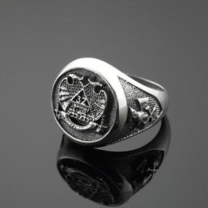 Vintage Oxidized Silver Scottish Rite Masonic Ring