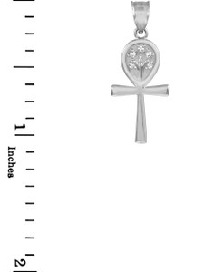 Sterling Silver Egyptian Ankh Cross Tree of Life CZ Pendant Necklace