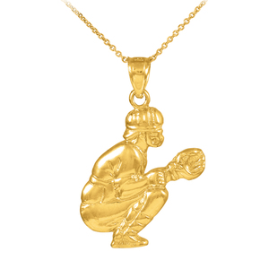Gold Baseball Catcher Charm Sports Pendant Necklace