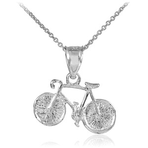 Silver Bicycle Charm Sports Pendant Necklace