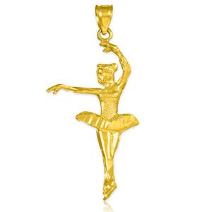 Gold Ballerina Dancer Charm Pendant Necklace