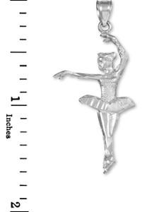 White Gold Ballerina Dancer Charm Pendant Necklace
