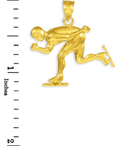 Gold Ice Skating/Speed Skater Charm Sports Pendant Necklace