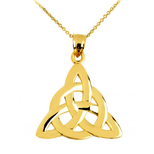 Gold Celtic Trinity Pendant Necklace