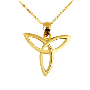 Yellow Gold Celtic Trinity Pendant Necklace