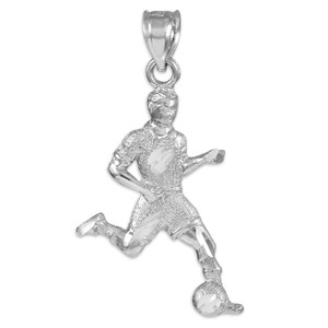 White Gold Soccer Player Charm Sports Pendant Necklace