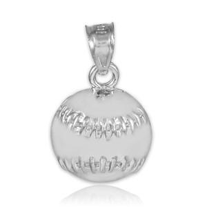 Silver Baseball/Softball Charm Sports Pendant Necklace