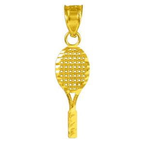 Small Tennis Racquet Gold Charm Sports Pendant Necklace