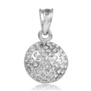 Golf Ball White Gold Charm Sports Pendant Necklace