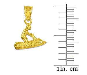 3D Jet Ski Gold Charm Pendant Necklace