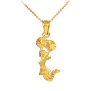 Gold Cheerleader Charm Pendant Necklace