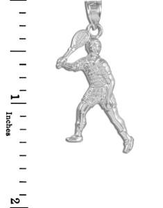 Tennis Player Silver Charm Pendant